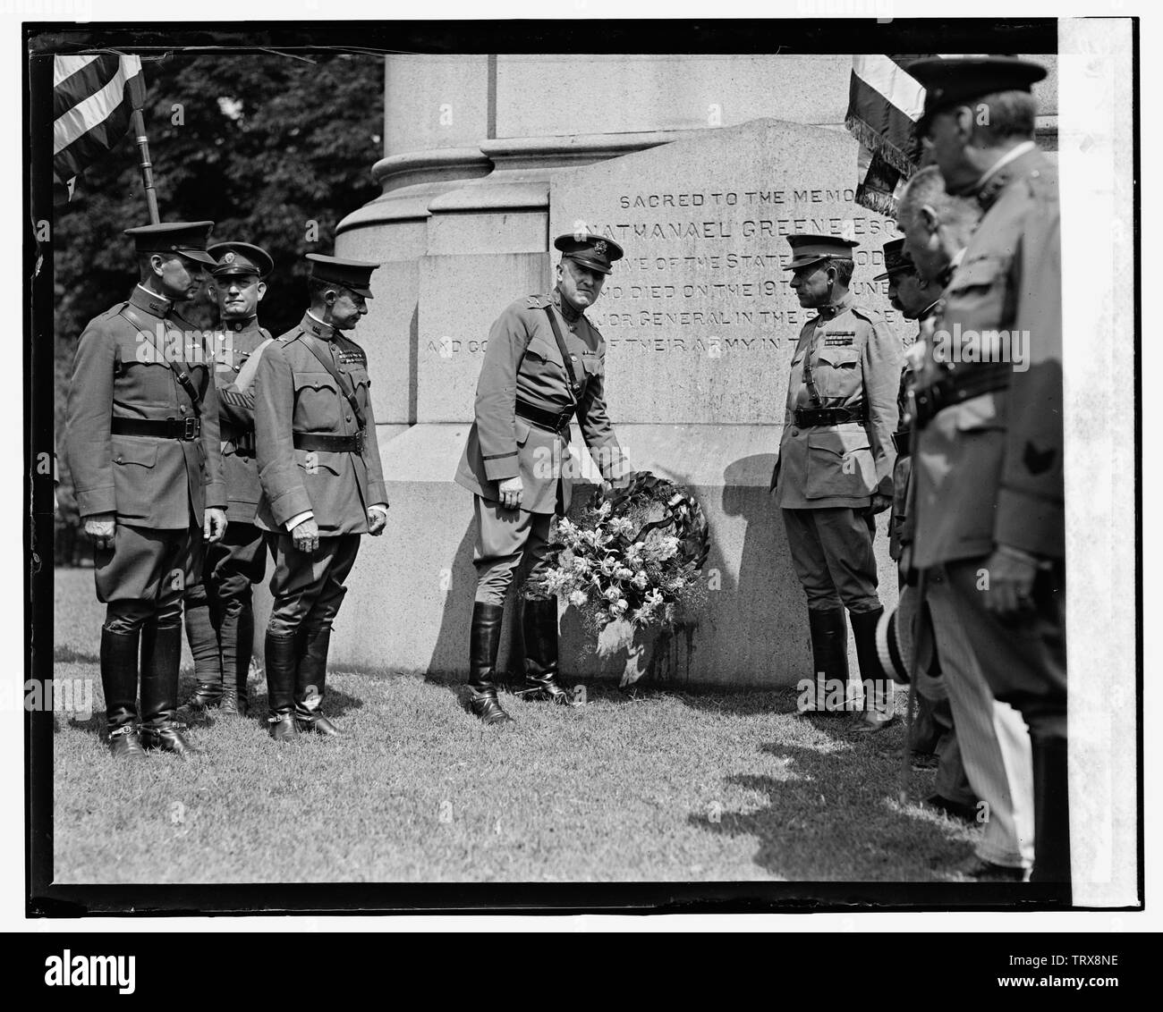 'English: Title: Anniversary ceremonies at statue of Nathaniel Greene, [8/7/24] Abstract/medium: National Photo Company Collection (Library of Congres - Stock Image