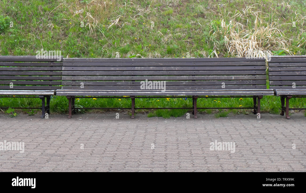Phenomenal Empty Wooden Benches In A Park In Front Of A Small Slope Bralicious Painted Fabric Chair Ideas Braliciousco