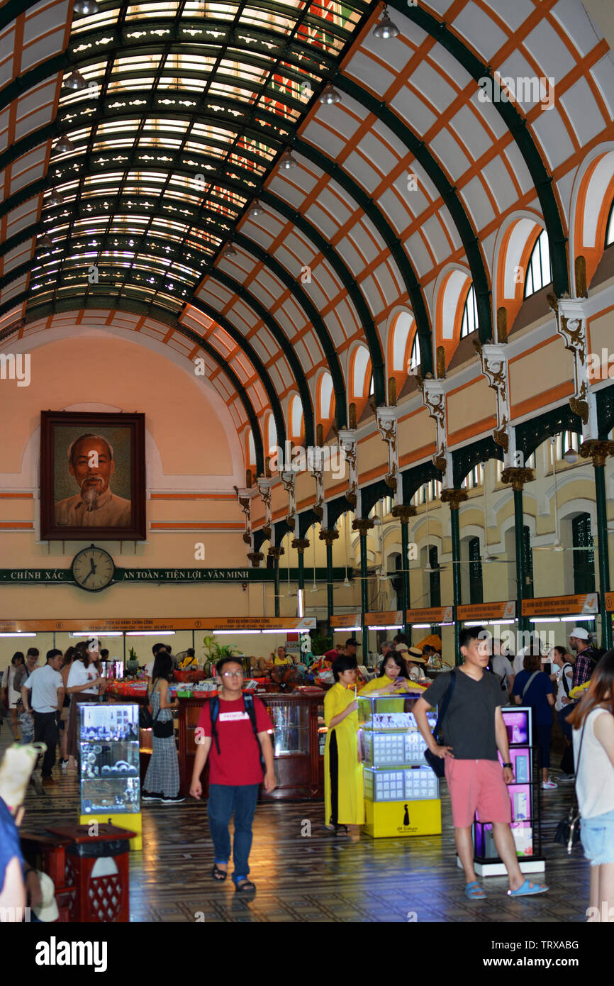 Ho Chi Minh City, Vietnam - May 30, 2019: Post Office Building Interior, Ho Chi Mink City, Vietnam - Stock Image