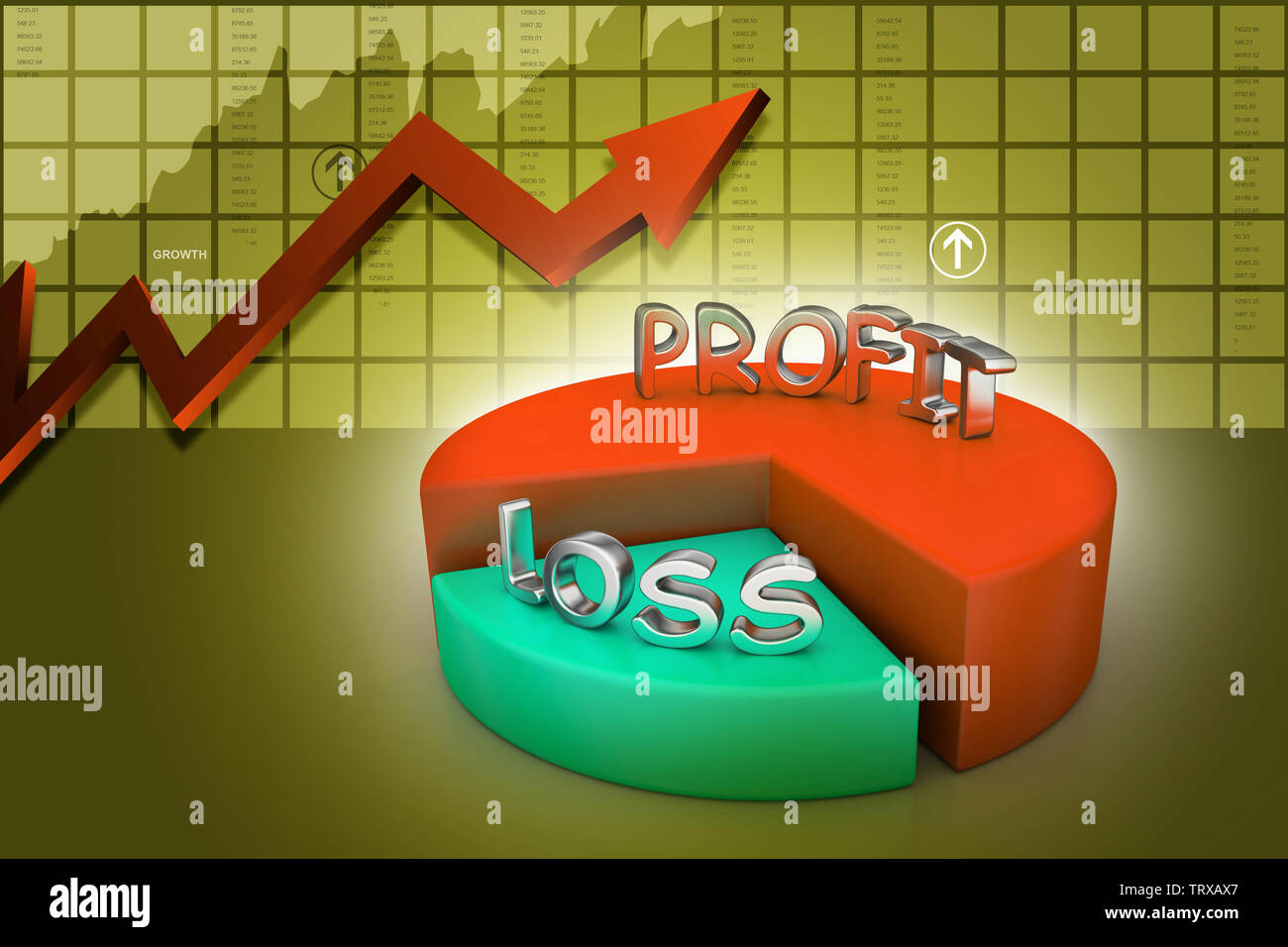 profit and losses pie chart - Stock Image