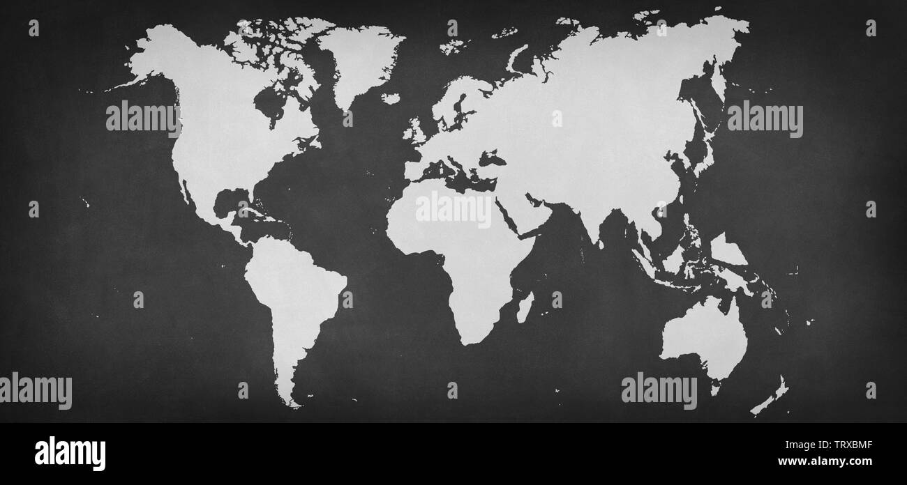 world map silhouette at grey background - Illustration - Stock Image