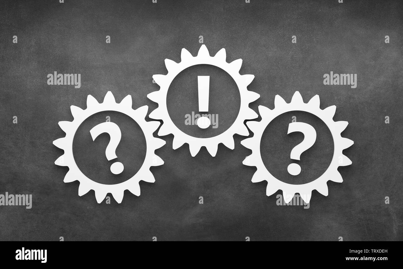 question mark with gears - Illustration - Stock Image