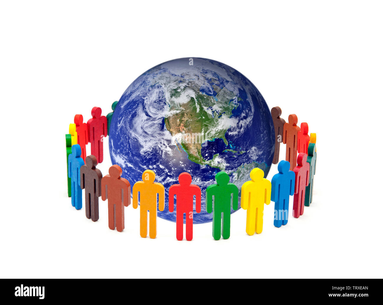 Circle of colourful people around the globe on white background. Earth photo provided by Nasa. - Stock Image