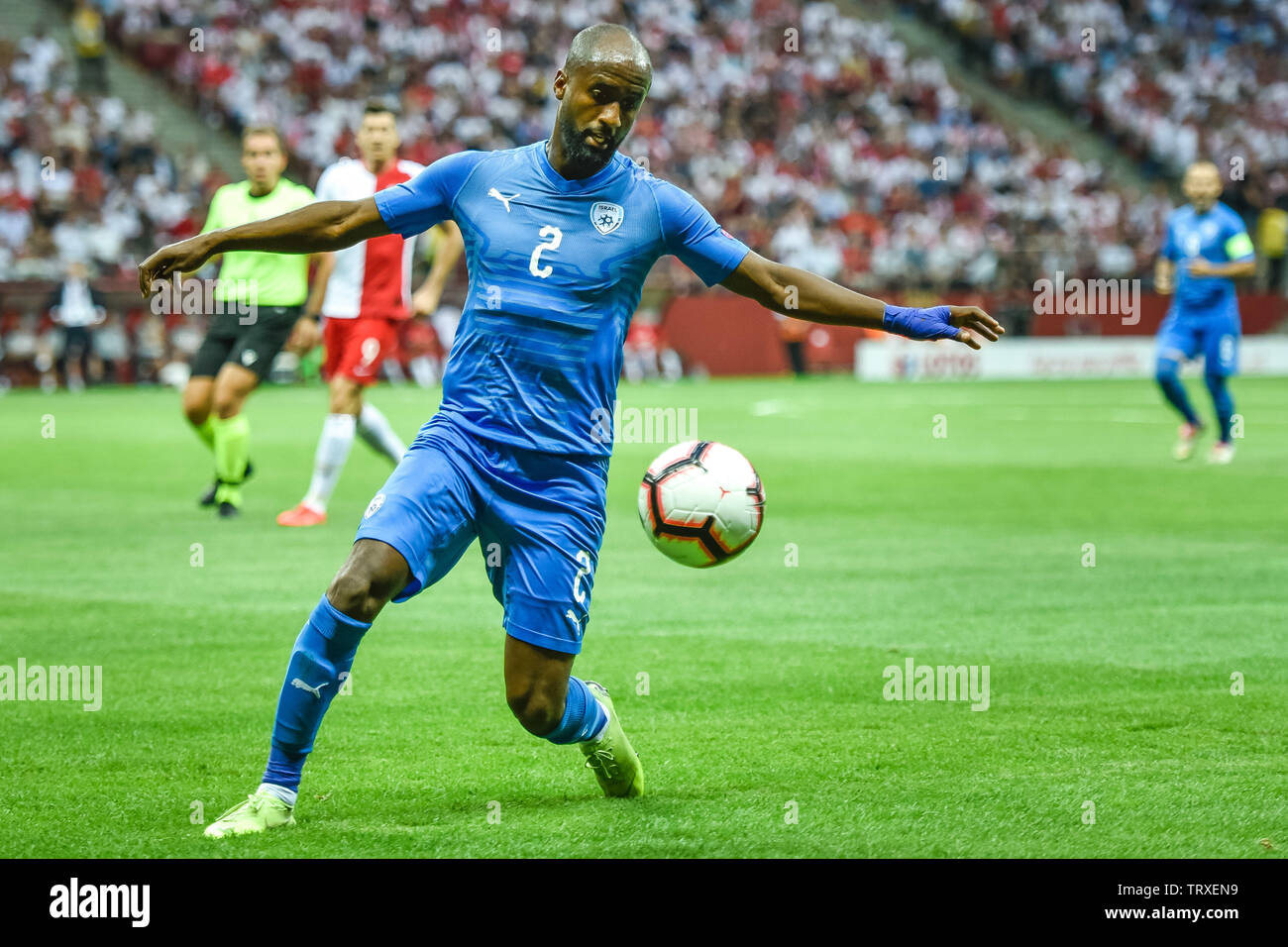 WARSAW, POLAND - JUNE 10, 2019: Qualifications Euro 2020  match Poland - Israel 4:0. In action Eli Dasa. - Stock Image