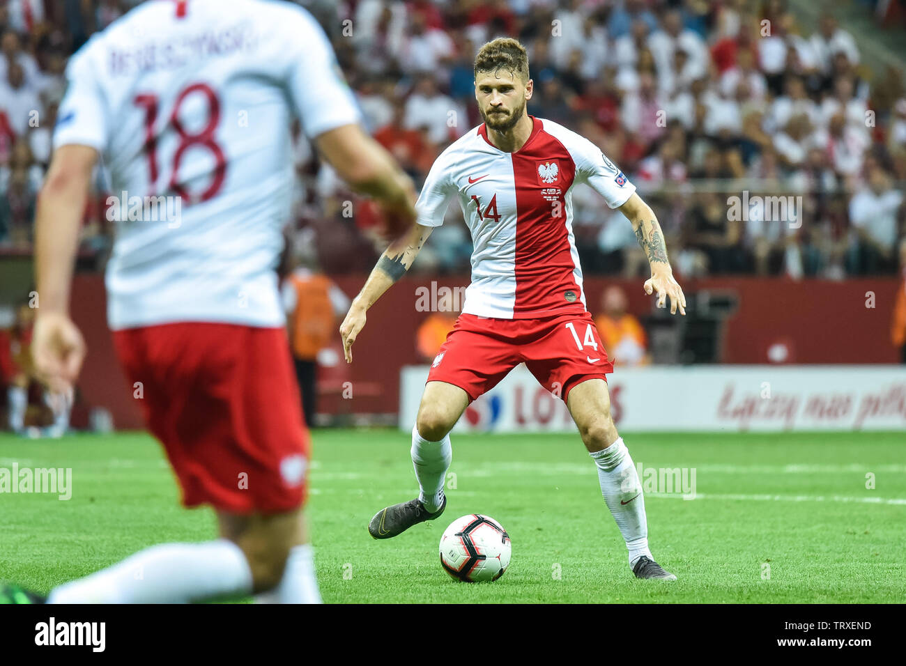WARSAW, POLAND - JUNE 10, 2019: Qualifications Euro 2020  match Poland - Israel 4:0. In action Mateusz Klich. - Stock Image