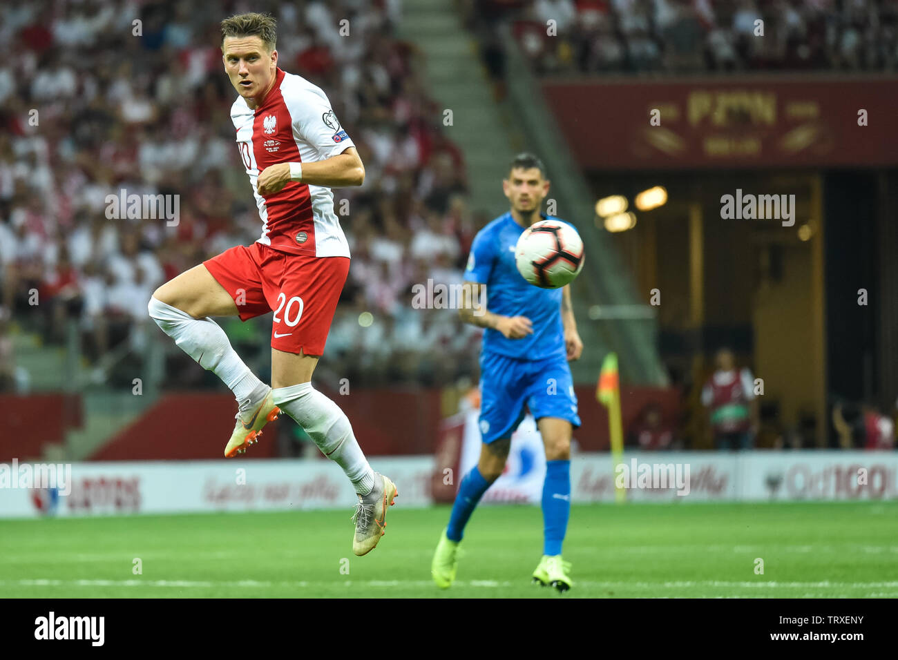 WARSAW, POLAND - JUNE 10, 2019: Qualifications Euro 2020  match Poland - Israel 4:0. In action Piotr Zielinski. - Stock Image