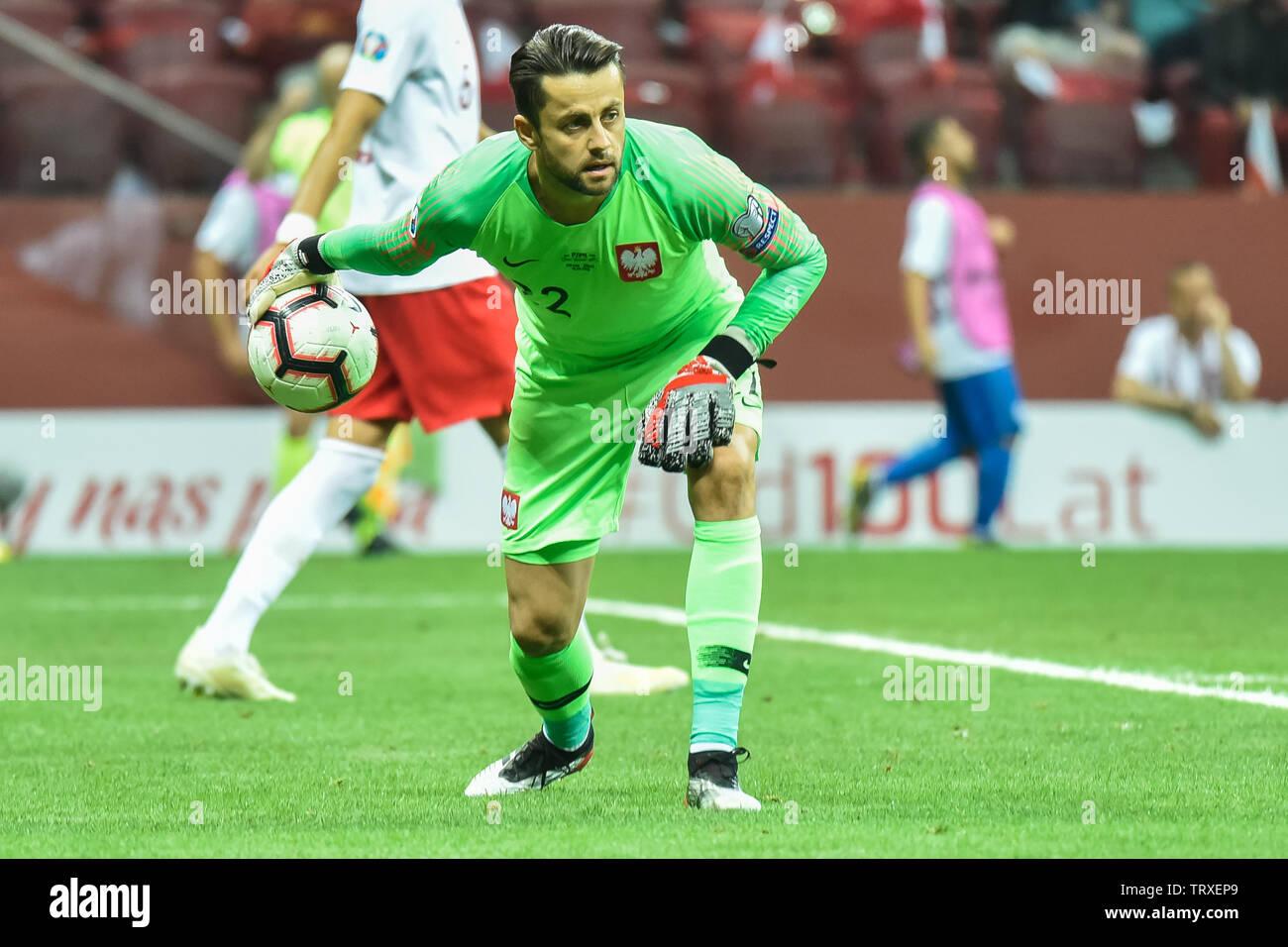 WARSAW, POLAND - JUNE 10, 2019: Qualifications Euro 2020  match Poland - Israel 4:0. In action goalkeeper Lukasz Fabianski. - Stock Image