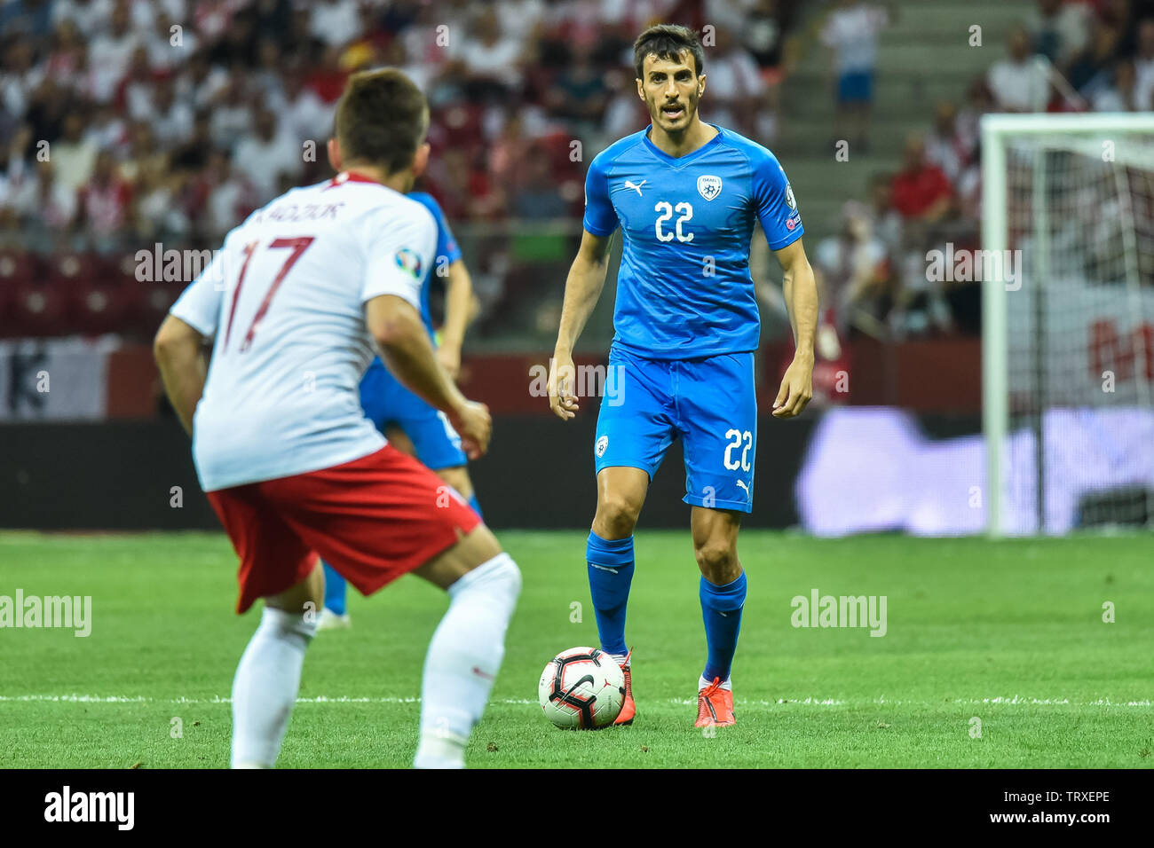 WARSAW, POLAND - JUNE 10, 2019: Qualifications Euro 2020  match Poland - Israel 4:0. In action Hatem Elhamed. Stock Photo