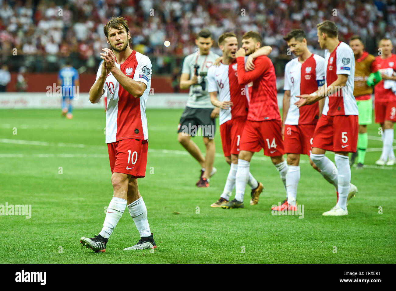 WARSAW, POLAND - JUNE 10, 2019: Qualifications Euro 2020  match Poland - Israel 4:0. Grzegorz Krychowiak and team of Poland after the match. - Stock Image