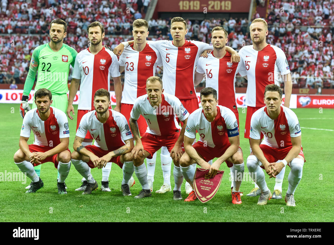 WARSAW, POLAND - JUNE 10, 2019: Qualifications Euro 2020  match Poland - Israel 4:0. Team of Poland. Stock Photo