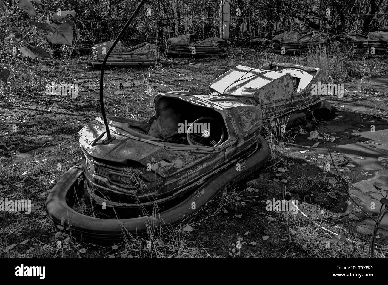Chernobyl: Ukraine. Bumper. Bumper was taken in the fairground at Pripryat ( or Pryp'yat) the Atomic City built next to Chernobyl. The 50,000 inhabitants had sports and swimming facilities, scools and a sopermarket unlike most cities in the Soviet Union. The funfair was due to open for Mat Day. But the nuclear accident happened just 3 days before. It was never used. This image was a finalist in the 2015 Environmental Photographer of the Year competition in 2015, and was part of my 2014 'Unsustainable Cities?' exhibition at the Royal Geographical Society in London. - Stock Image