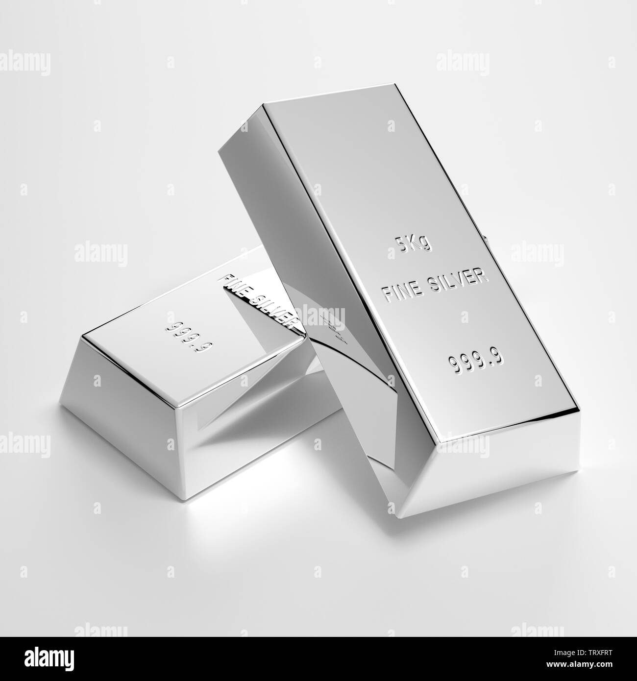 polishes silver bars on table - Illustration - Stock Image