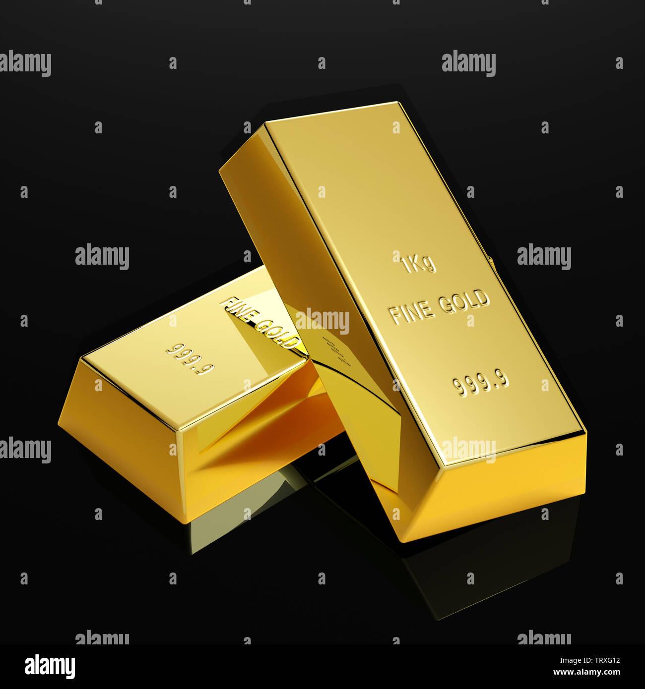 polished gold bars on table - Illustration - Stock Image