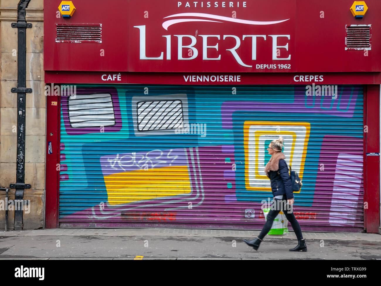 Closed Liberte patisserie in Manchester, UK - Stock Image