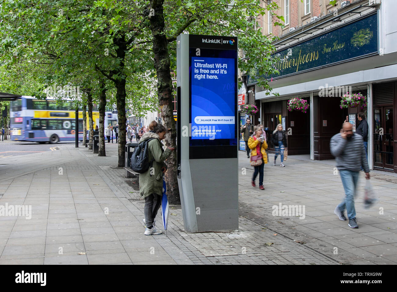 LinkUK is an infrastructure project in Manchester, United Kingdom with free Wi-Fi service. LinkUK kiosks, called Links, was rolled out in the London borough of Camden in 2017 - Stock Image