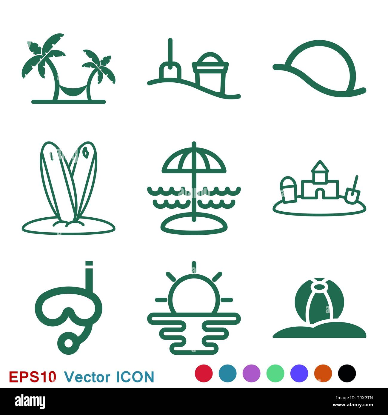 Beach icon, summer signs: vector icon of vacation and tourism - Stock Image