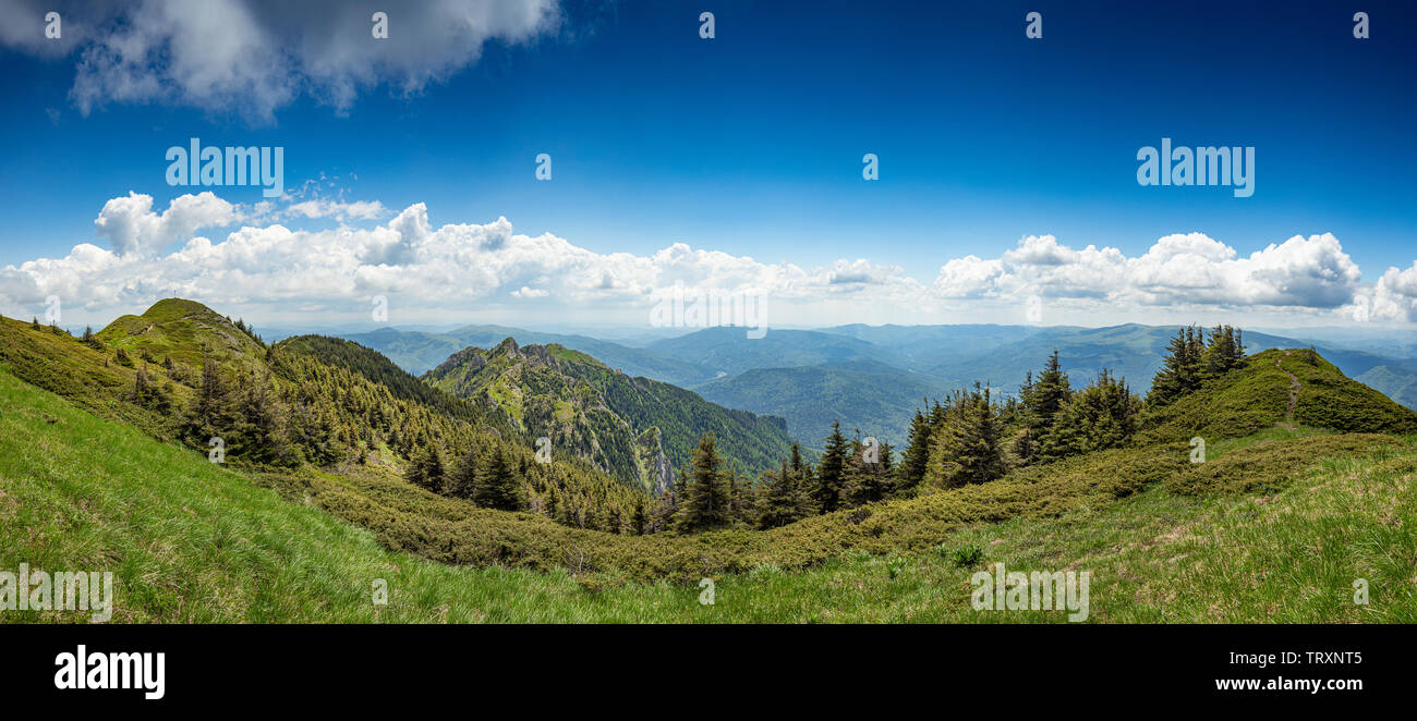 View of the Ciucas mountains, Prahova County, Romania - Stock Image