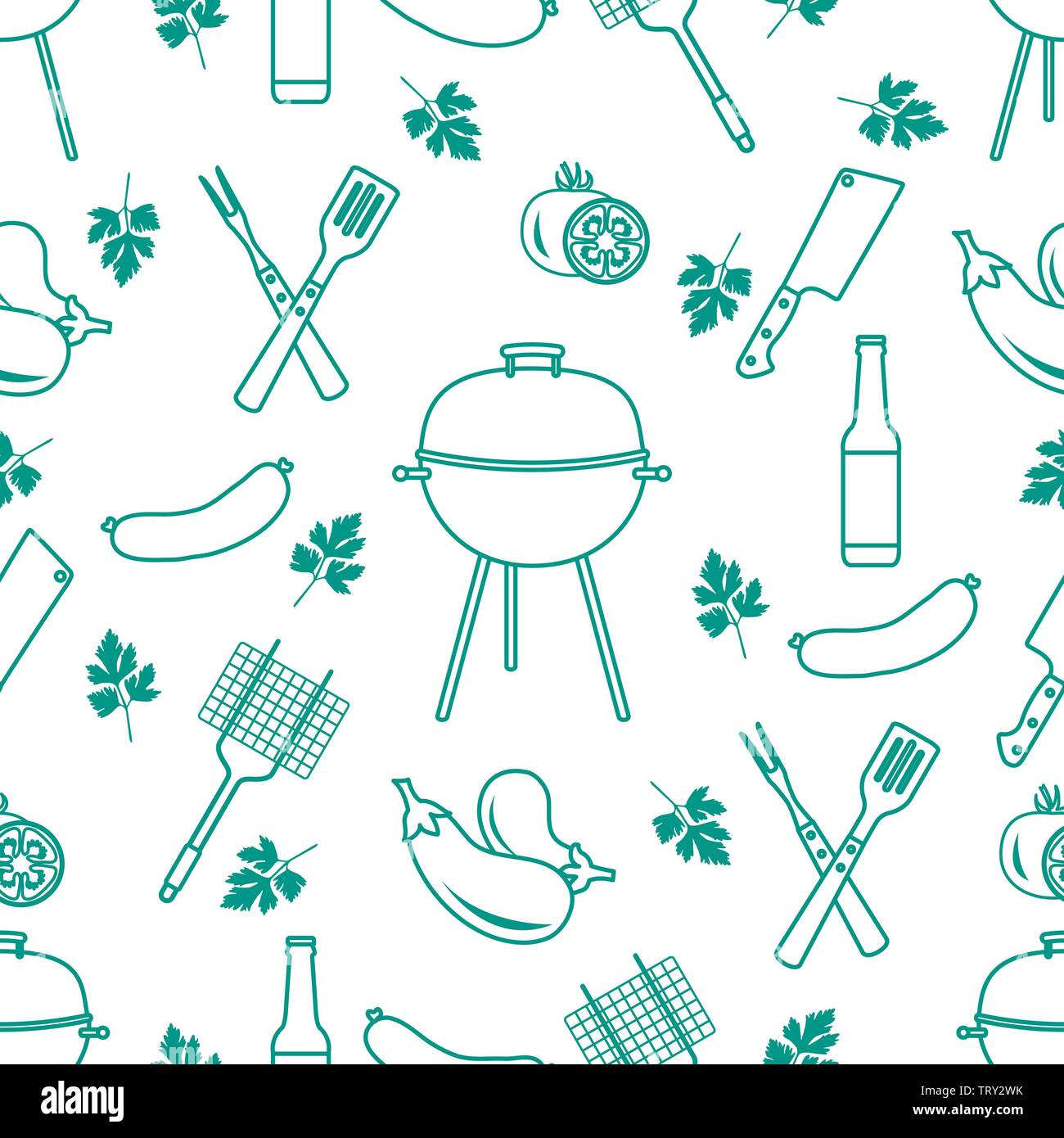 Seamless pattern with grill and barbecue tools. BBQ party background. Design for party card, banner, poster or print. - Stock Image