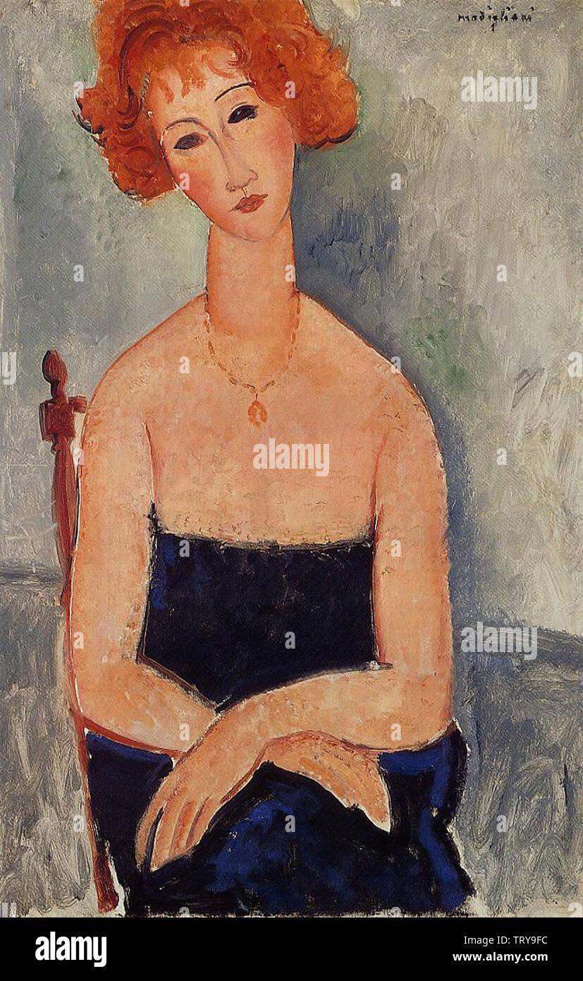Amedeo Modigliani - Redheaded Woman Wearing Pendant 1918 - Stock Image