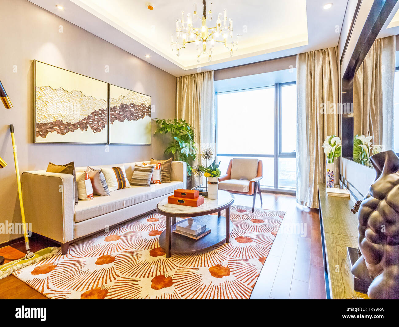 Living Room Hall Decoration Luxury Interior Design Decoration Glazing Lighting Background Television Wall Background Wall Sofa Interior Decoration Home Design Home Home Sitting Room Visitors Stock Photo Alamy