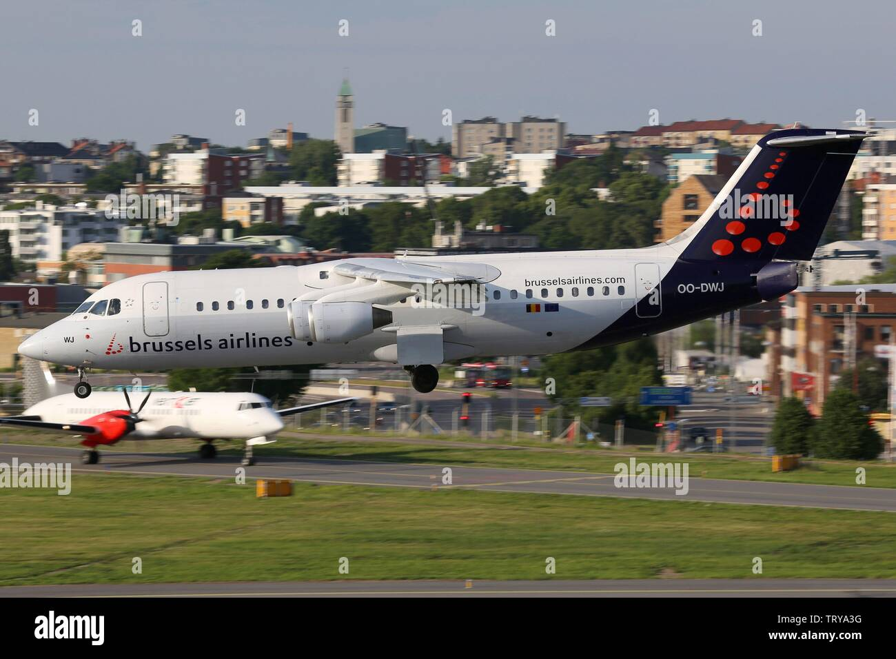Stockholm, Sweden - 25. June 2013: Brussels Airlines British Aerospace Avro 146-RJ100 at Stockholm Bromma airport (BMA) in Sweden. | usage worldwide - Stock Image