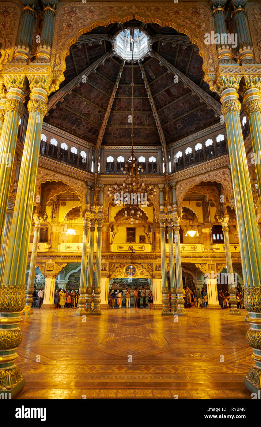 Marriage Pavilion, interior shot of Mysore Palace or ambavilas palace, Mysore, Hassan, Karnataka, India - Stock Image