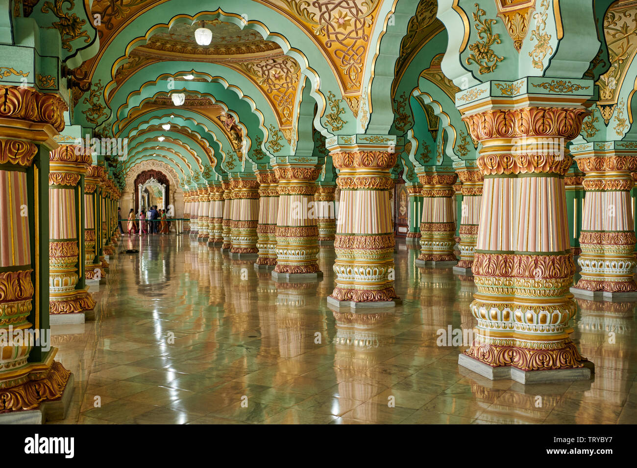 Audience hall, Public Durbar Hall, interior shot of Mysore Palace or ambavilas palace, Mysore, Hassan, Karnataka, India - Stock Image