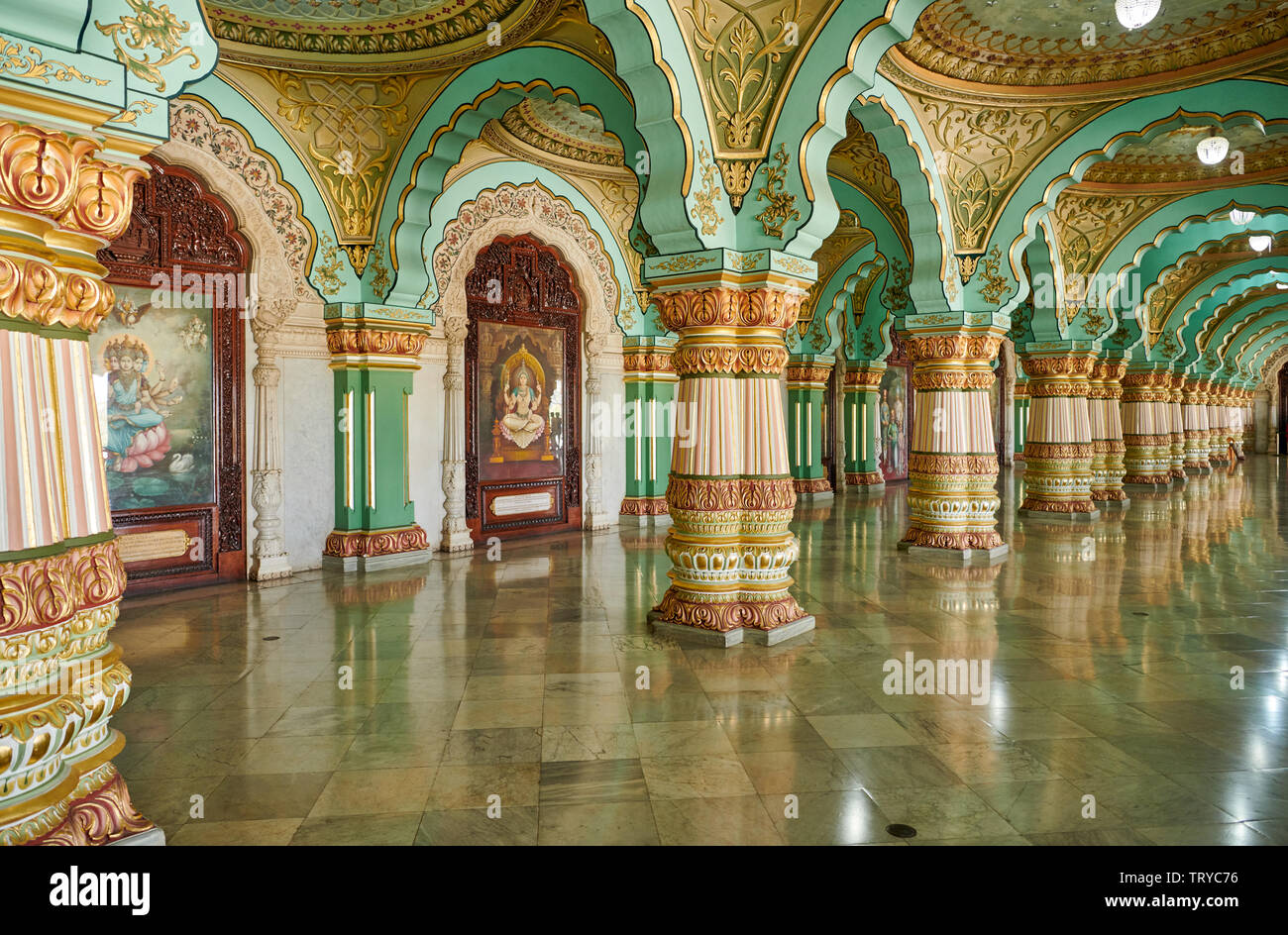 Audience hall, Public Durbar Hall, interior shot of Mysore Palace or ambavilas palace, Mysore, Hassan, Karnataka, India Stock Photo
