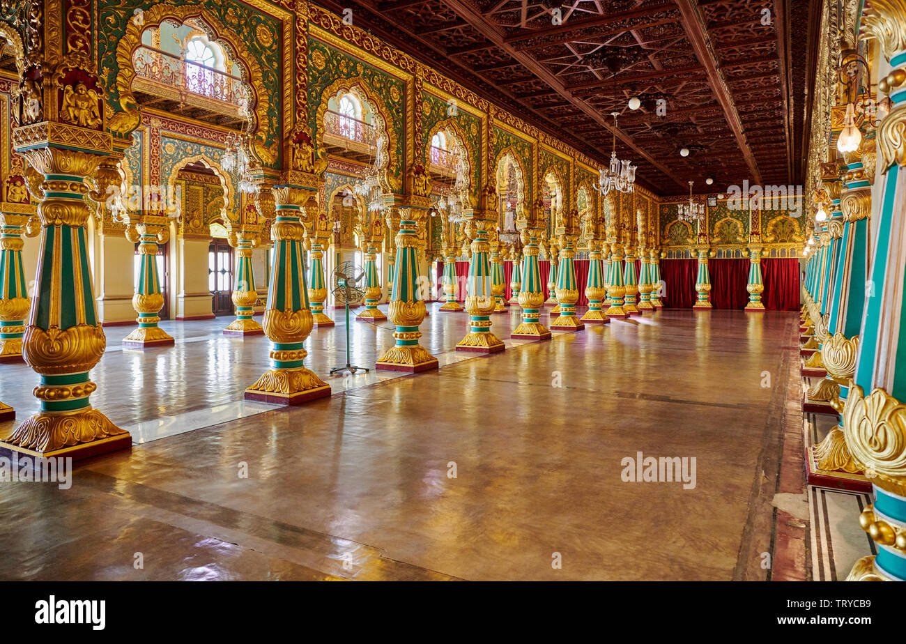 colorful columns in Private Durbar Hall, interior shot of Mysore Palace or ambavilas palace, Mysore, Hassan, Karnataka, India Stock Photo
