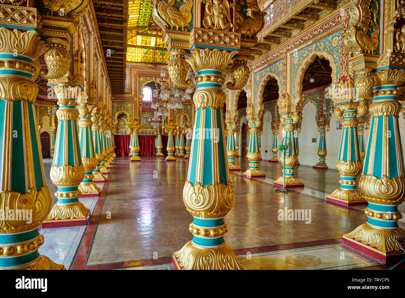 colorful columns in Private Durbar Hall, interior shot of Mysore Palace or ambavilas palace, Mysore, Hassan, Karnataka, India - Stock Image