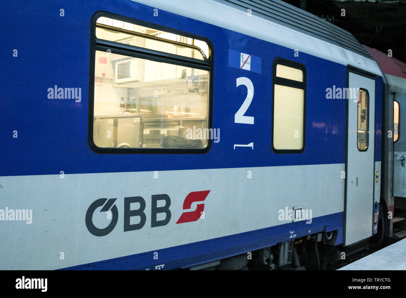 PARIS, FRANCE - DECEMBER 29, 2006: Sleeping Car of the Austrian Railways with their logo (OBB) on an overnight train ready for departure to Vienna in - Stock Image