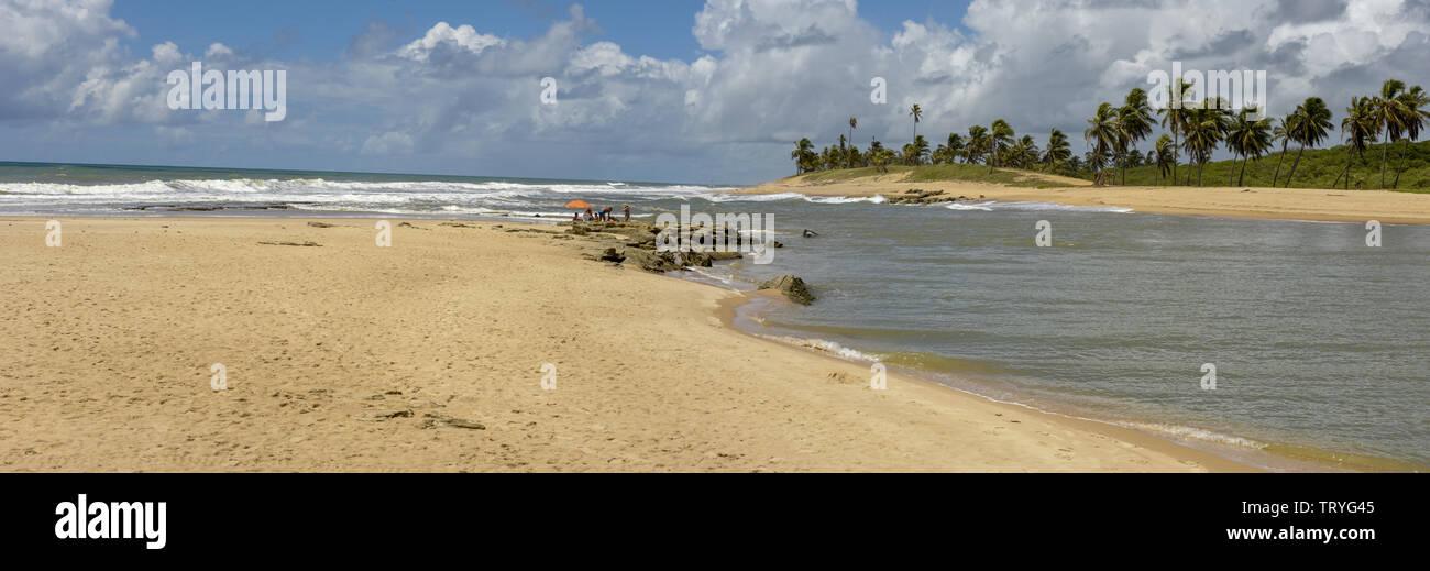 The coast of Sauipe on Bahia in Brazil - Stock Image