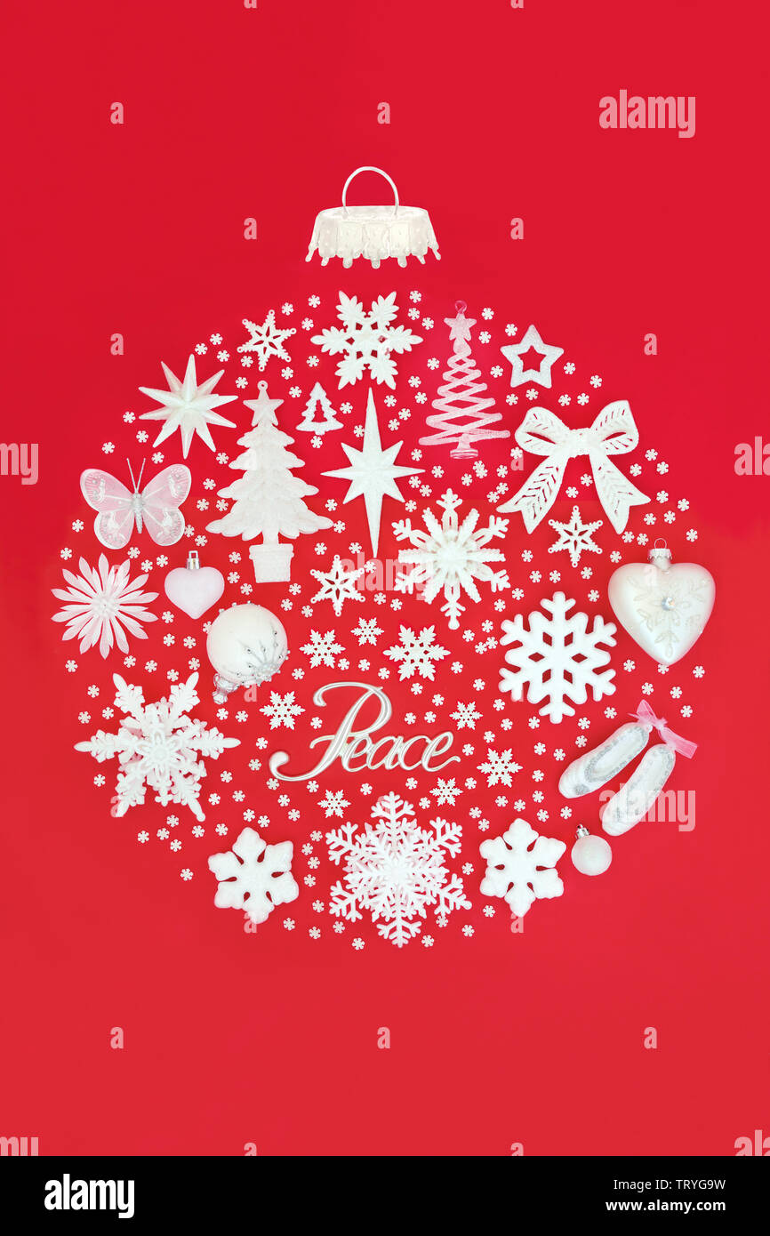 Peace Christmas Sign.Christmas Tree Decorations With Silver Peace Sign Forming An