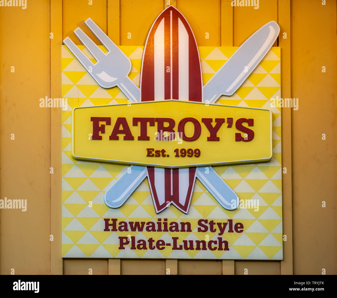 Oahu, Hawaii, USA 10/06/2016.  Fatboy's Hawaiian Style Plate-Lunch at NorthShore Oahu - Stock Image