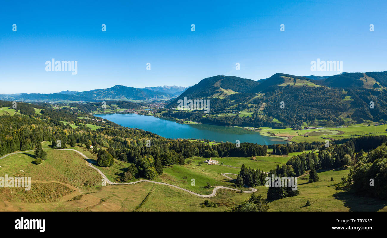 Allgäu from above - Immenstadt, Alpsee, and Grünten Stock Photo