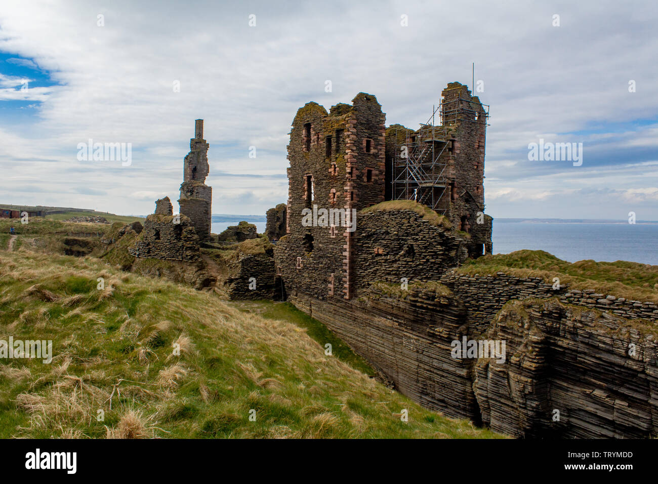 Castle Sinclair Girnigoe, 3 miles north of Wick on the east coast of Caithness, Scotland. - Stock Image