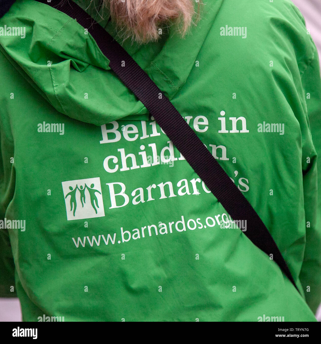 Believe in Children, Charity Barnandos fundraisers in Manchester, city centre, UK - Stock Image