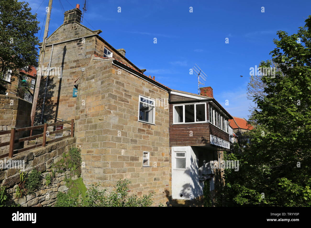 Old Bakery Tea Rooms, Chapel Street, Robin Hood's Bay, Borough of Scarborough, North Yorkshire, England, Great Britain, United Kingdom, UK, Europe Stock Photo