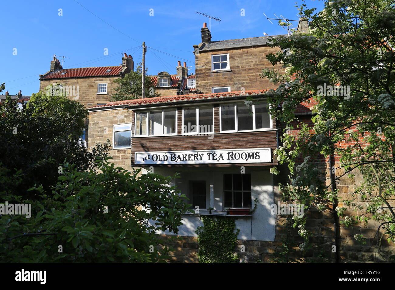 Old Bakery Tea Rooms, Chapel Street, Robin Hood's Bay, Borough of Scarborough, North Yorkshire, England, Great Britain, United Kingdom, UK, Europe Stock Photo