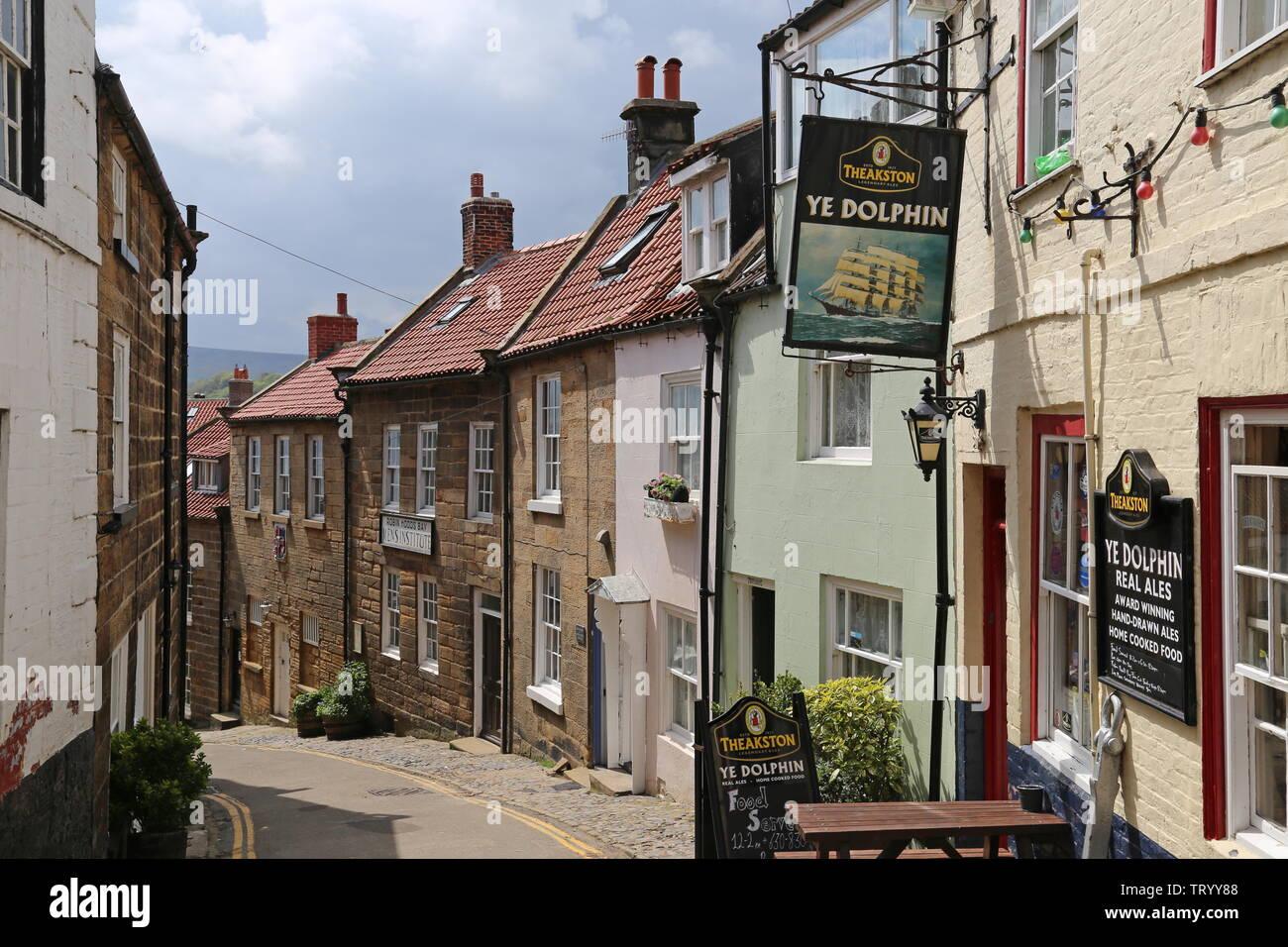 Ye Dolphin, King Street, Robin Hood's Bay, Borough of Scarborough, North Yorkshire, England, Great Britain, United Kingdom, UK, Europe Stock Photo