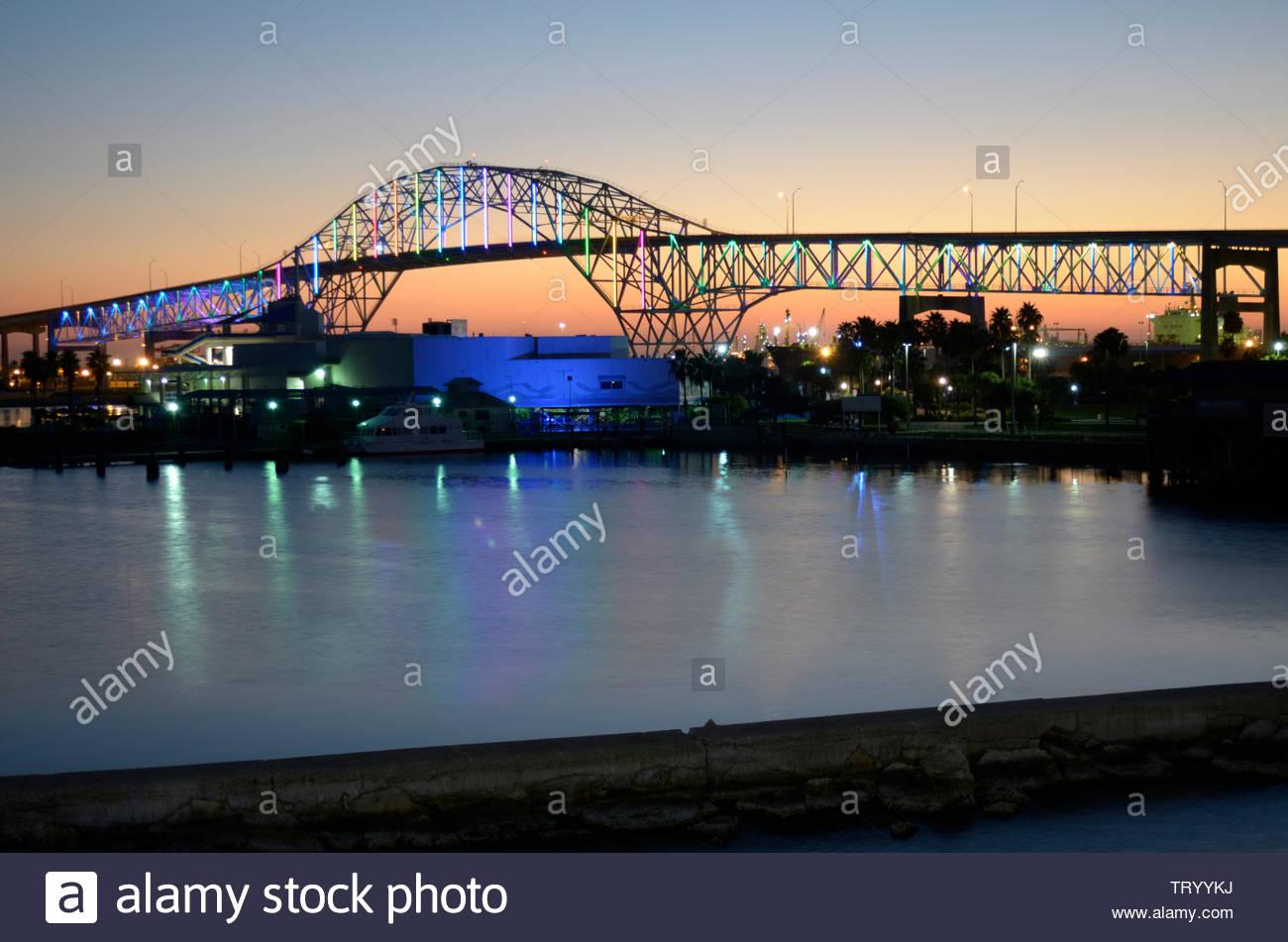Corpus Christi Harbor Bridge at Night. US 181 Corpus Christi Harbor Bridge Lit up. Corpus Christi Shipping Channel. Texas Gulf Coast. Corpus Christi - Stock Image