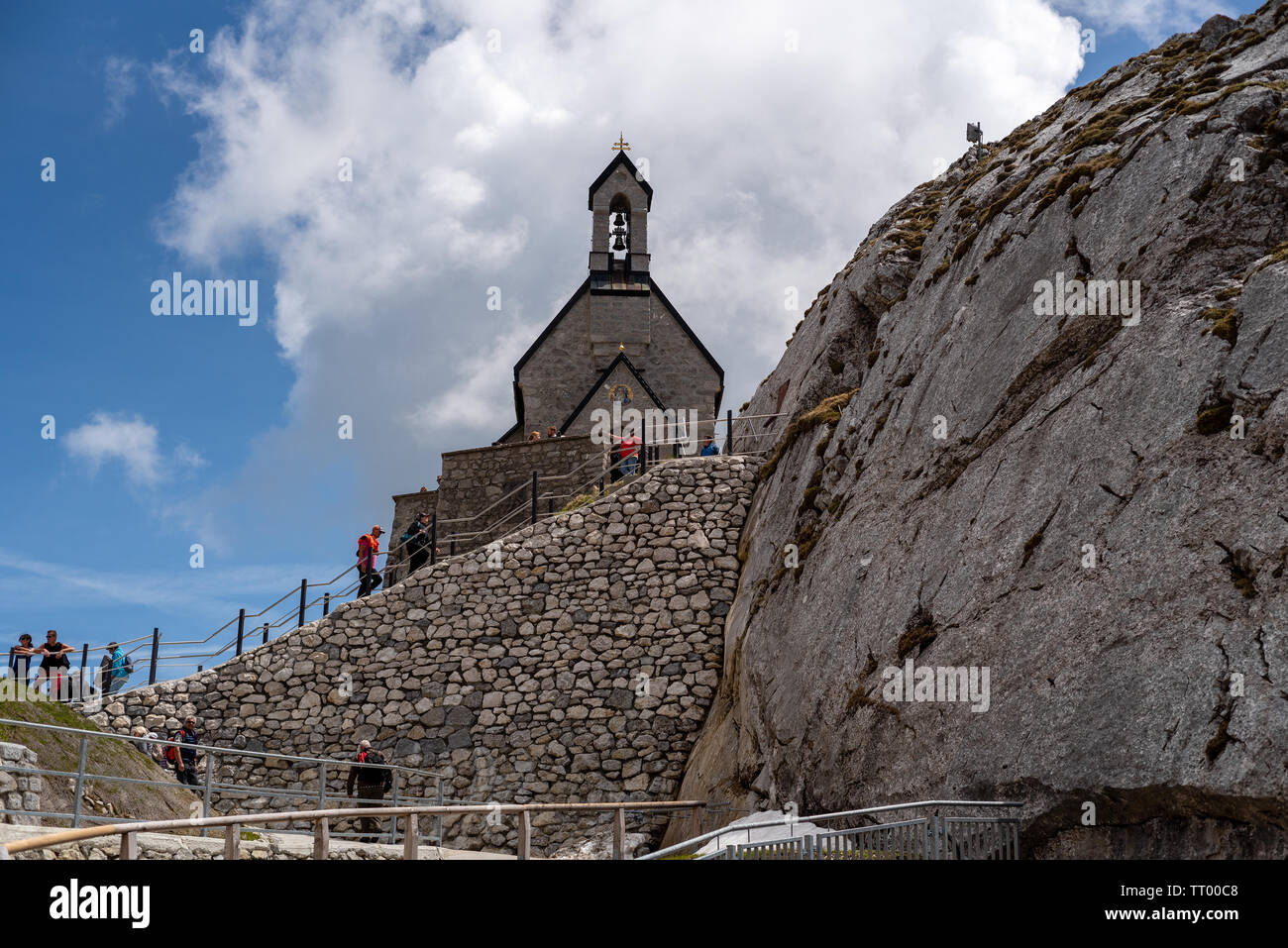 Bayrischzell, Bavaria, Germany - June 1, 2019.  The Wendelsteinkircherl highest church is a tourist attraction - Stock Image