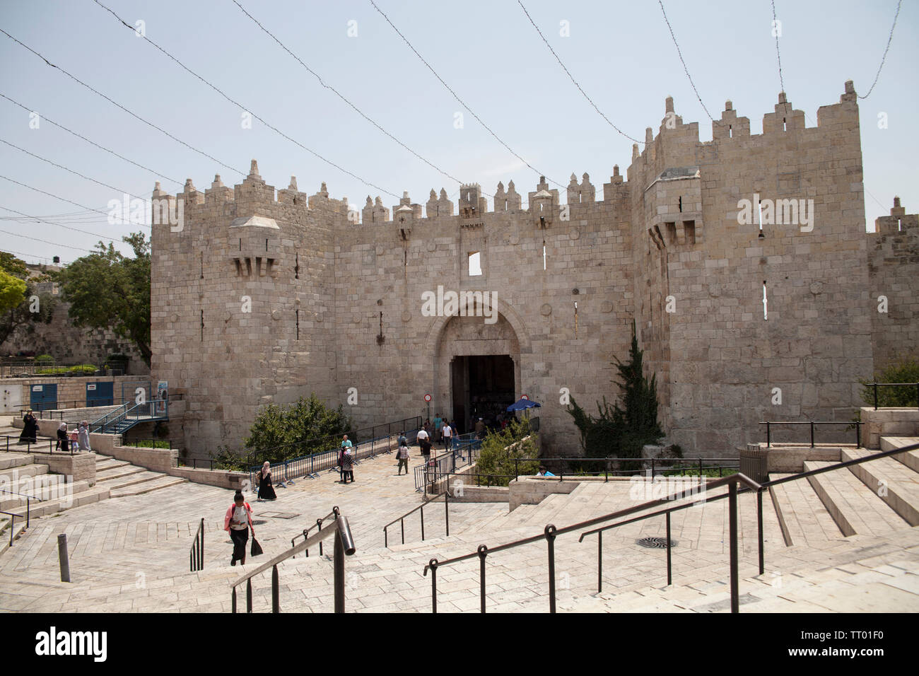 Israel, Jerusalem: Damascus Gate in the Old City, between
