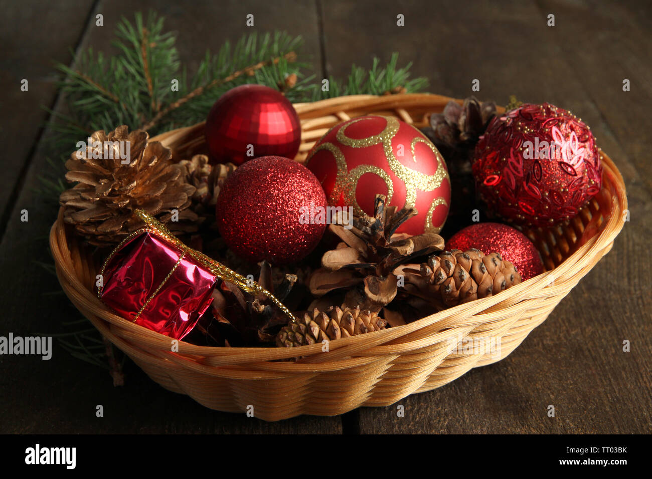 Christmas Decorations In Basket And Spruce Branches On