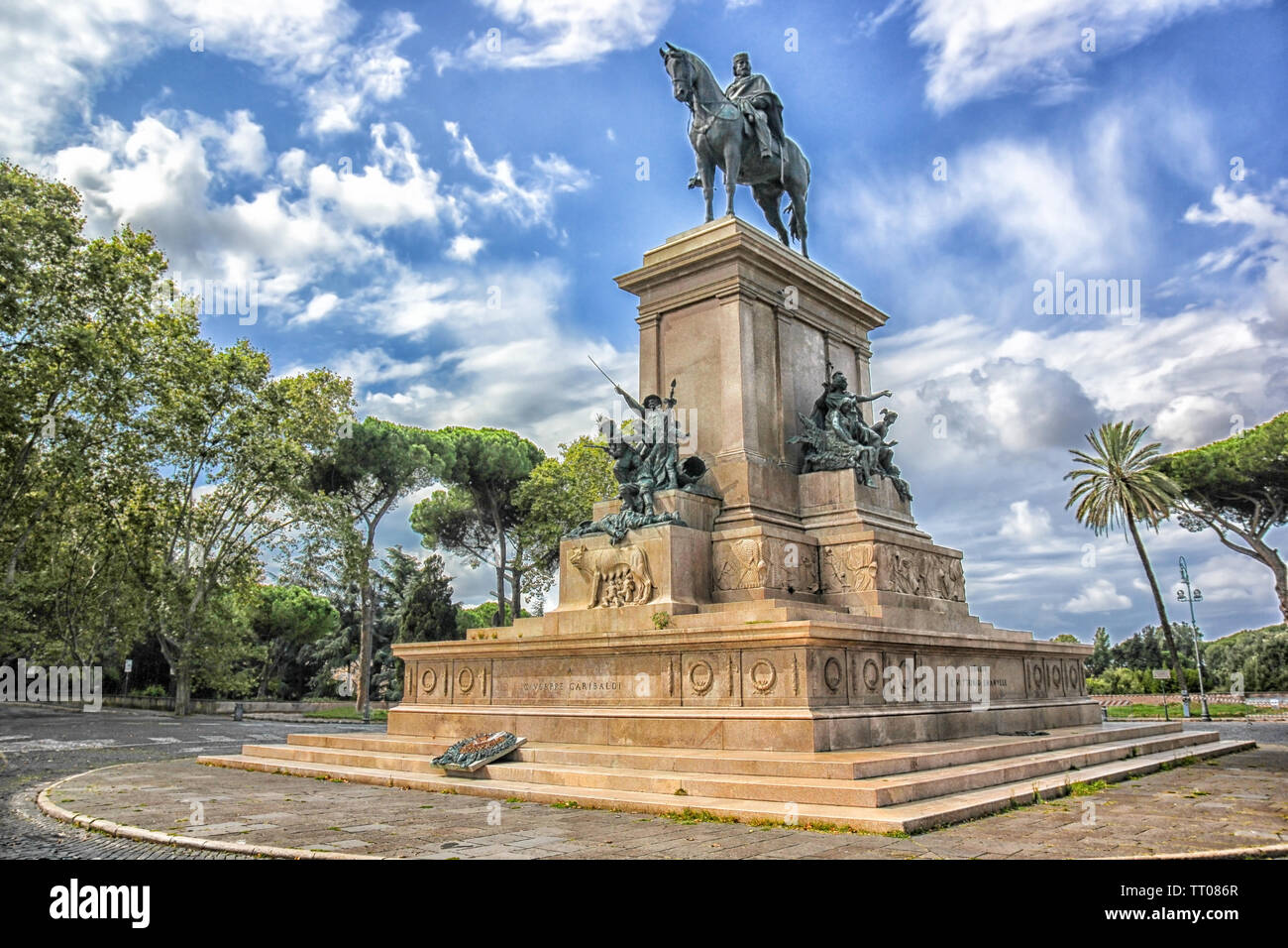 Monument Giuseppe Garibaldi Rome Italy Stock Photos