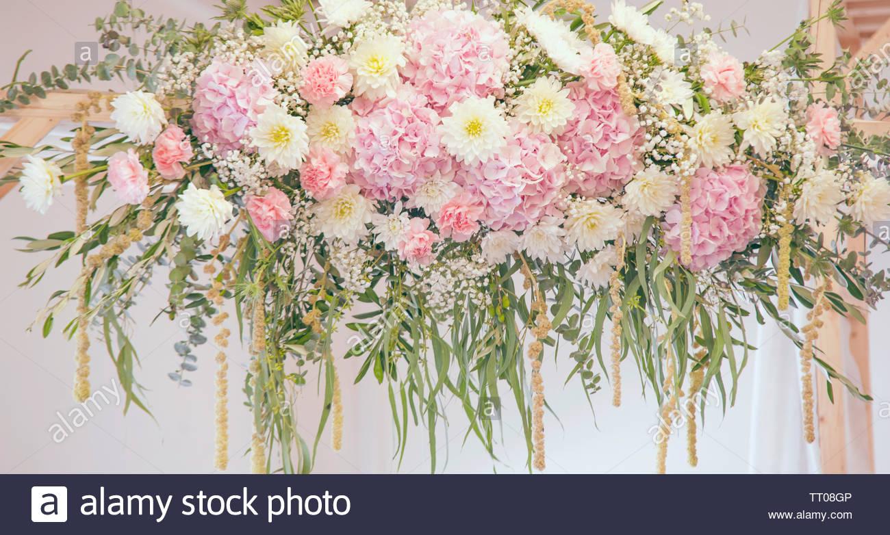Pale Pink White Gypsophila Chrysanthemum Dahlias