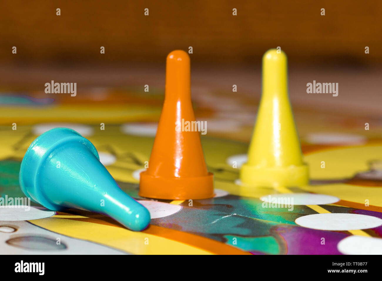 Board games for the home. plastic chips  on Board games for children - Stock Image