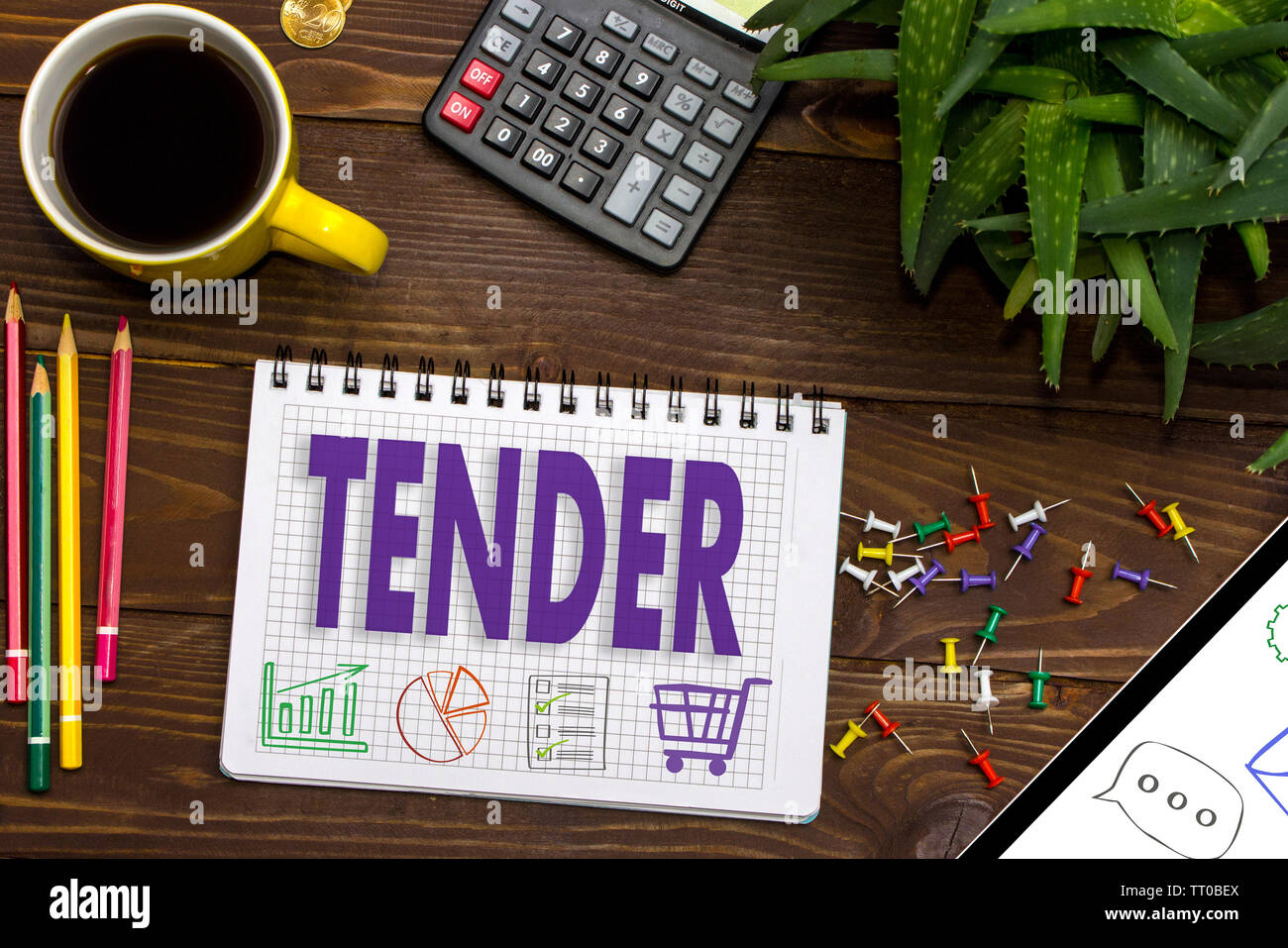 TENDER on the touch screen - Stock Image