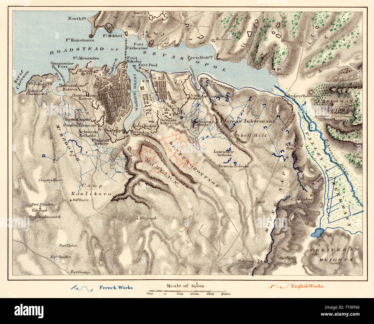 Map of Sevastopol, Crimean War, 1854-1855. Color lithograph - Stock Image