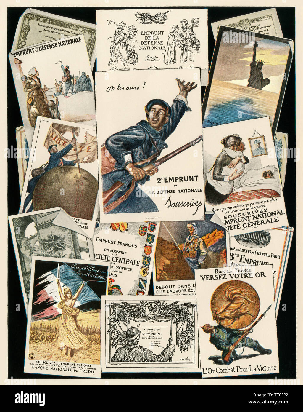 French World War I posters. Color halftone - Stock Image